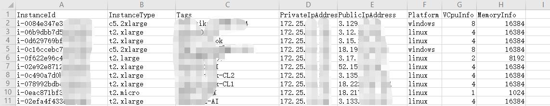 使用python导出aws ec2实例清单到csv